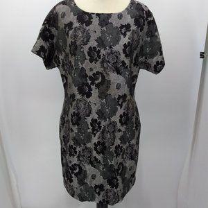 Banana Republic Size 14 Dress Black Gray Knee Leng
